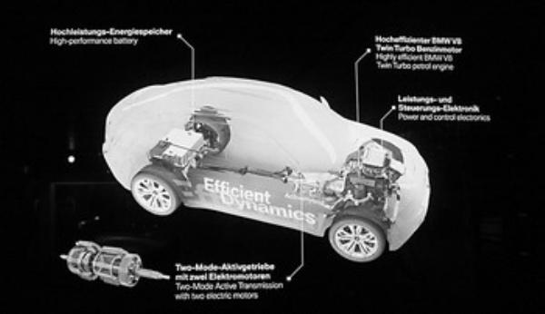 左下图为宝马生产的电动汽车的设计图,清楚地标明了发动机在汽车内