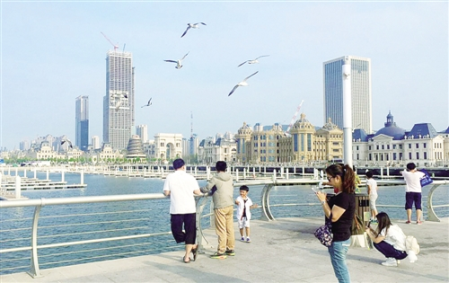 ② 辽宁大连东海广场,海鸟与人和谐共处.
